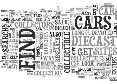 WHERE YOU CAN BUY COLLECTIBLE CARS AND TOYS TEXT WORD CLOUD CONCEPT