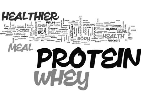 healthier: WHEY HEALTHIER PROTEIN MEAL TEXT WORD CLOUD CONCEPT Illustration