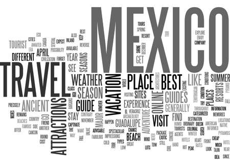 YOUR WAY TO MEXICO A TRAVEL GUIDE TEXT WORD CLOUD CONCEPT Vectores