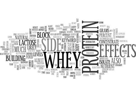 WHEY PROTEIN SIDE EFFECTS TEXT WORD CLOUD CONCEPT Illustration