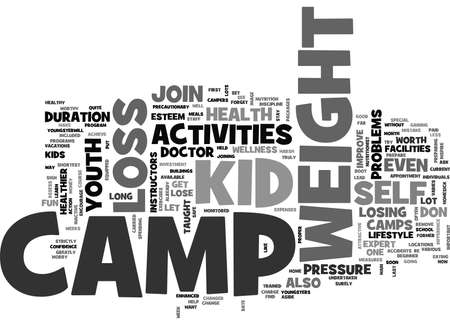 precautionary: YOUTH ACTIVITIES WEIGHT LOSS CAMP TEXT WORD CLOUD CONCEPT Illustration