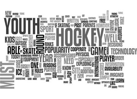 YOUTH HOCKEY IN THE MODERN AGE TEXT WORD CLOUD CONCEPT