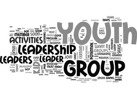 YOUTH LEADERSHIP ACTIVITIES TEXT WORD CLOUD CONCEPT