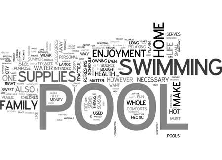WHAT ARE THE NECESSARY POOL SUPPLIES TEXT WORD CLOUD CONCEPT Illustration