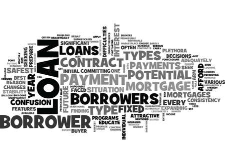 WHAT ARE THE RISKIEST TYPES OF MORTGAGES LOANS AVAILABLE TEXT WORD CLOUD CONCEPT