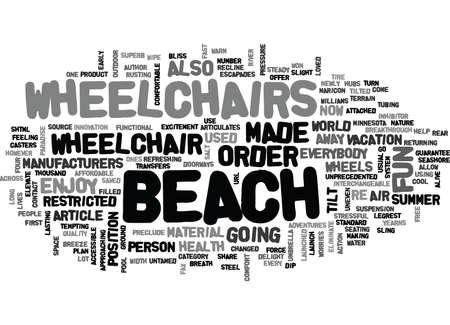 あなたが言うウォン T は、車椅子本文に再 WORD クラウド コンセプト際ビーチをお楽しみください  イラスト・ベクター素材