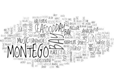 WANNEER DE ZON OVER MONTEGO BAY TEXT WORD CLOUD CONCEPT GAAT NAAR BENEDEN Stock Illustratie