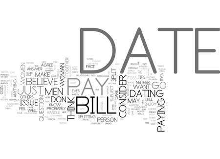 WHO SHOULD PAY FOR OUR DATE TEXT WORD CLOUD CONCEPT Vectores