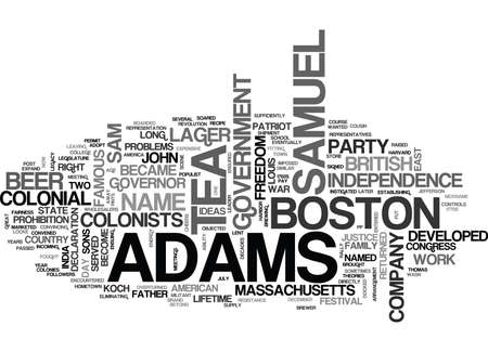 사무엘 아담스 (Samuel Adams) 텍스트 단어 클라우드 개념