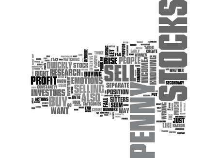 WHEN TO SELL PENNY STOCKS TEXT WORD CLOUD CONCEPT Illustration