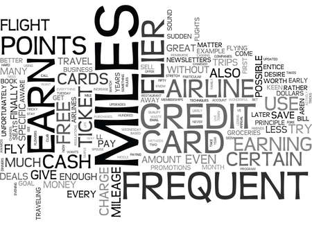 WHEN TO USE FREQUENT FLYER MILES TEXT WORD CLOUD CONCEPT Ilustração