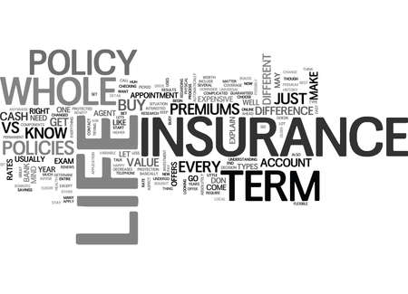 WHOLE LIFE VS TERM LIFE INSURANCE WHICH ONE TEXT WORD CLOUD CONCEPT