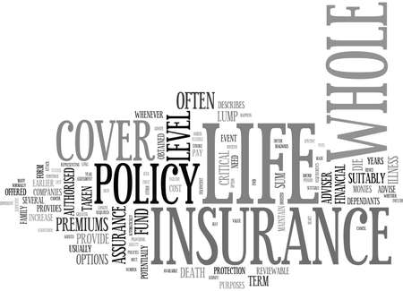 WHOLE OF LIFE INSURANCE TEXT WORD CLOUD CONCEPT