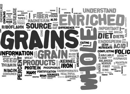 WHOLE VERSUS ENRICHED GRAINS WHAT S THE DIFFERENCE TEXT WORD CLOUD CONCEPT