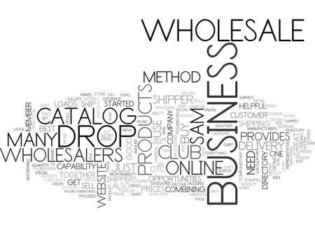 WHOLESALE AND DROP SHIPPER WORK TOGETHER TEXT WORD CLOUD CONCEPT