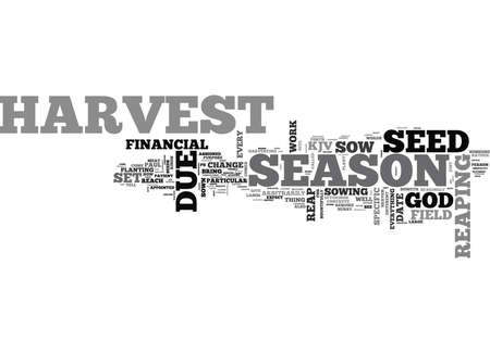 cor: WHEN WILL I REAP MY FINANCIAL HARVEST TEXT WORD CLOUD CONCEPT