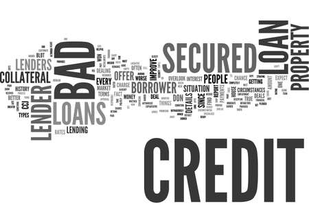 BETTER DEALS ON A BAD CREDIT SECURED LOAN TEXT WORD CLOUD CONCEPT Ilustrace