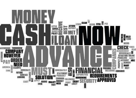 borrowing money: WHAT IS CASH ADVANCE NOW TEXT WORD CLOUD CONCEPT