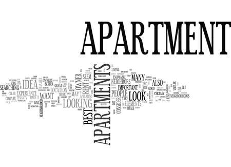WHAT TO LOOK FOR IN AN APARTMENT TEXT WORD CLOUD CONCEPT