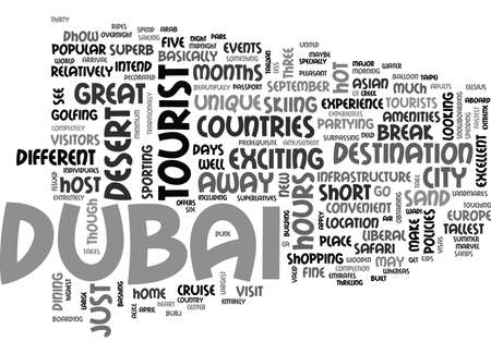 WHAT TO SEE AND DO IN DUBAI TEXT WORD CLOUD CONCEPT Illusztráció