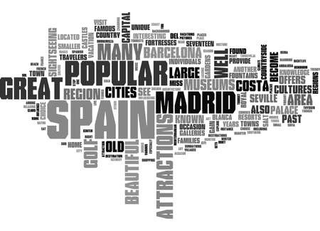 WHAT TO SEE AND DO WHILE IN SPAIN TEXT WORD CLOUD CONCEPT Illustration