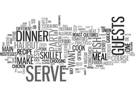 WHAT TO SERVE AS THE MAIN COURSE FOR YOUR DINNER PARTY TEXT WORD CLOUD CONCEPT Ilustração