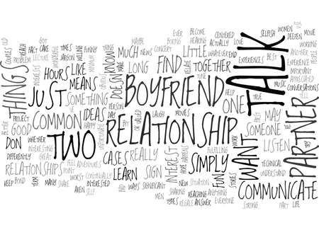 WHAT TO TALK ABOUT WITH YOUR BOYFRIEND TEXT WORD CLOUD CONCEPT Illustration