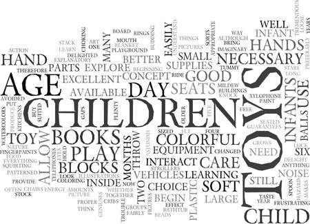 WHAT TOYS ARE NECESSARY FOR DAY CARE TEXT WORD CLOUD CONCEPT Ilustrace