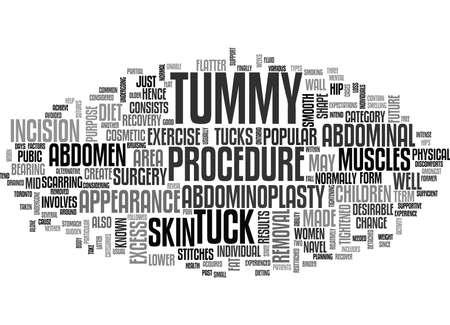 TUMMY TUCKS는 텍스트 단어 구름 개념에 관한 것입니다. 일러스트