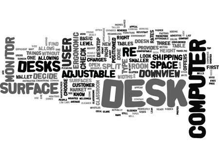WHAT TYPE OF COMPUTER DESK IS RIGHT FOR YOU TEXT WORD CLOUD CONCEPT Vektoros illusztráció