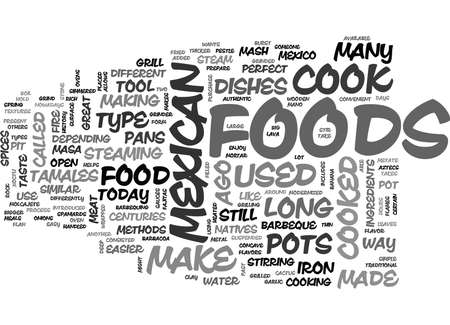 WHAT TYPE OF METHODS IS USED TO COOK MEXICAN FOOD TEXT WORD CLOUD CONCEPT Illustration