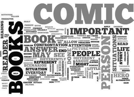 WHY COMIC BOOKS ARE IMPORTANT TEXT WORD CLOUD CONCEPT Ilustração