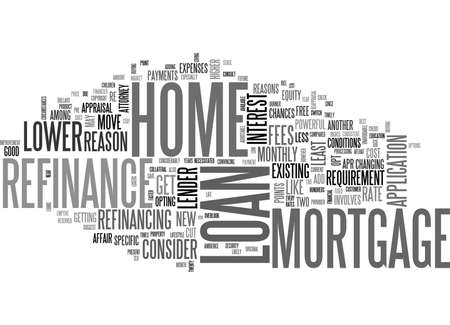 refinancing: WHY CONSIDER A HOME MORTGAGE REFINANCE LOAN TEXT WORD CLOUD CONCEPT