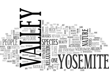 YOSEMITE VILLAGE TEXT WORD CLOUD CONCEPT