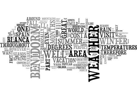 YOU LL LOVE THE WEATHER IN BENIDORM SPAIN TEXT WORD CLOUD CONCEPT Illusztráció