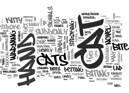 WHY DOES MY CAT BITE MY HAND WHEN I STROKE HER TEXT WORD CLOUD CONCEPT Ilustração