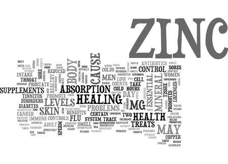 ZINC TEXT WORD CLOUD CONCEPT