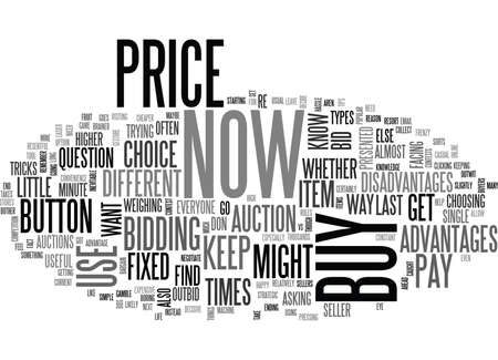 WHEN TO BUY NOW AND WHEN TO BID TEXT WORD CLOUD CONCEPT
