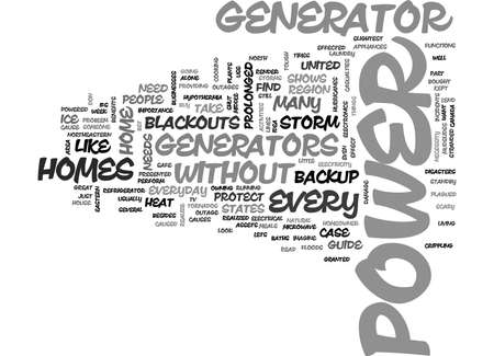 WHY EVERY HOME NEEDS A BACKUP GENERATOR TEXT WORD CLOUD CONCEPT Ilustrace