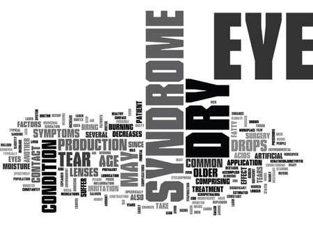 WHAT IS DRY EYE SYNDROME TEXT WORD CLOUD CONCEPT