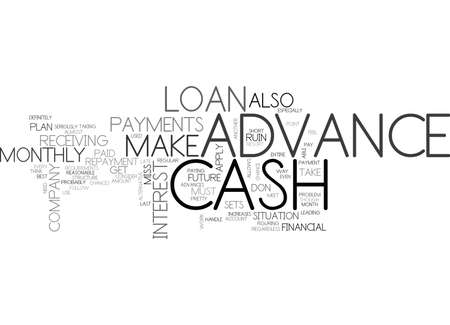 WHEN TO USE A CASH ADVANCE TEXT WORD CLOUD CONCEPT