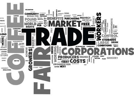 WHAT IS FAIR TRADE COFFEE AND WHY SHOULD WE BUY IT TEXT WORD CLOUD CONCEPT