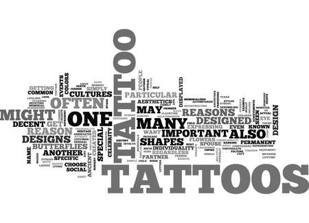 WHY GET A TATTOO TEXT WORD CLOUD CONCEPT Illustration