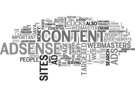 WHY ADSENSE IS ESSENTIAL FOR CONTENT SITES TEXT WORD CLOUD CONCEPT Illustration