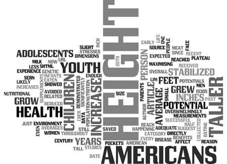 WHY AMERICANS POTENTIAL HEIGHT INCREASE HAVE REDUCED SIGNIFICANTLY TEXT WORD CLOUD CONCEPT