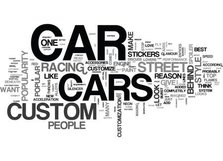 WHY ARE CUSTOM CARS POPULAR TEXT WORD CLOUD CONCEPT