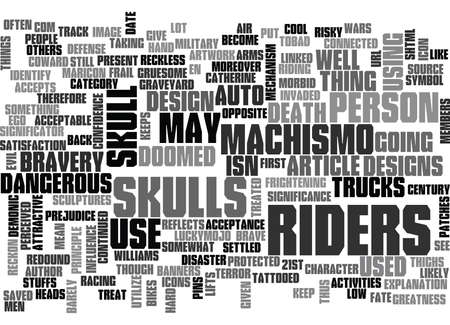 WHY ARE SKULLS LINKED TO RIDERS TEXT WORD CLOUD CONCEPT Ilustrace