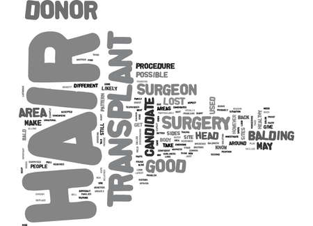 WHY ARE SOME PEOPLE BETTER CANDIDATES FOR HAIR TRANSPLANT SURGERY TEXT WORD CLOUD CONCEPT Illustration