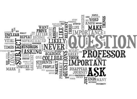 WHY ASK THE PROFESSOR TEXT WORD CLOUD CONCEPT Stock Vector - 79581279