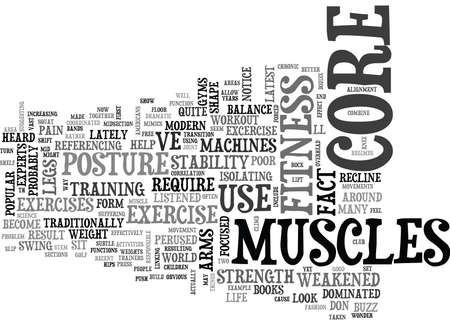 WHY CORE FITNESS IS IMPORTANT TEXT WORD CLOUD CONCEPT Illustration